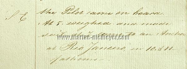 Hendrik de Haan, Logbuch 'Faseta': Came to an Anchor at Rio Janeiro