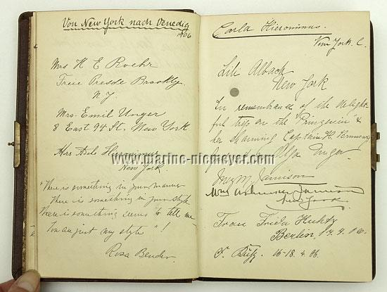 Visitors' Book Prinzessin Victoria Luise: From New York to Venice 1906