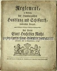 Reglement, in Ansehung der Hamburgischen Handlung und Schiffarth, währenden Krieges (18. September 1778)