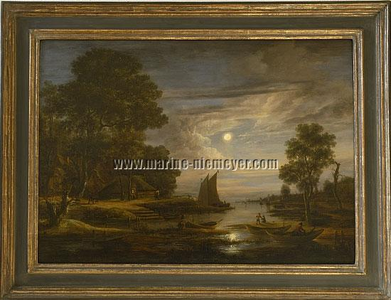 Aert van der Neer, River Landscape by Moonlight