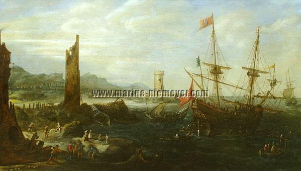 Andries van Eertvelt, Marine mit päpstlicher Galeone