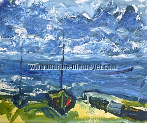 Alexander Bertelsson, Boats at Lake Walchen, Bavaria