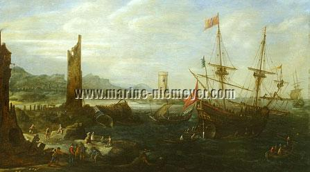 Andries van Eertvelt, Entrance of the Port of Genoa with Papal Galleon